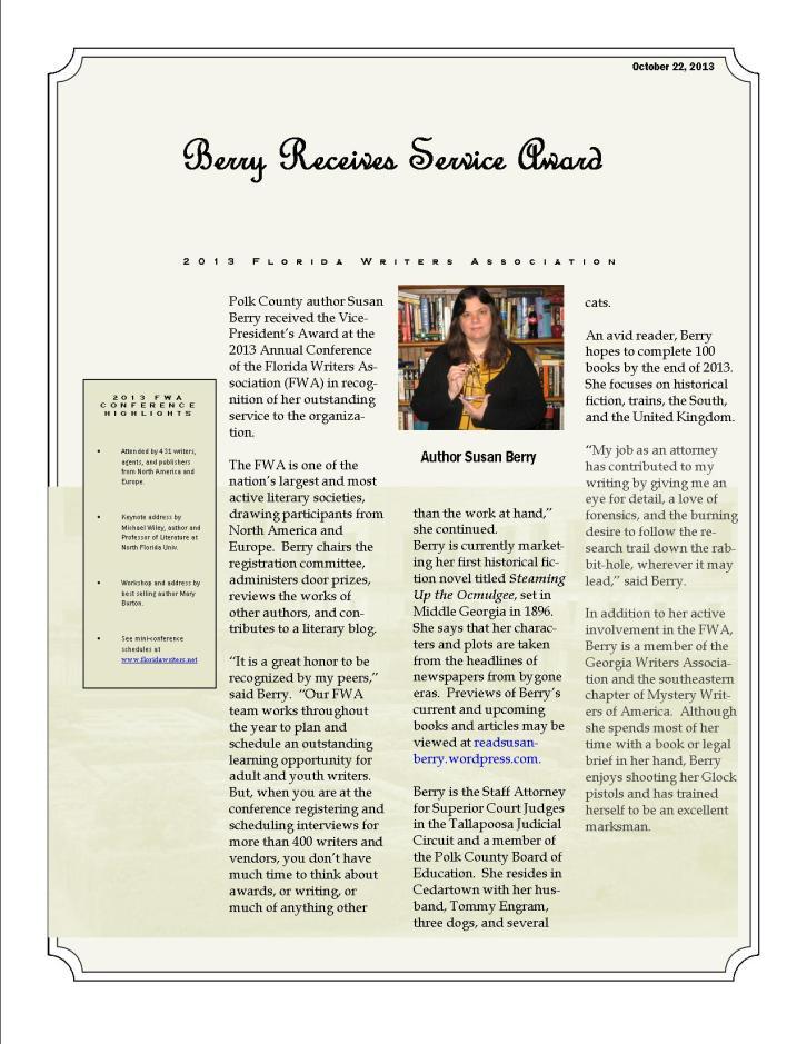 Berry Wins Service Award